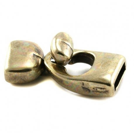 Fermoir crochet bronze pour cuir 10mm