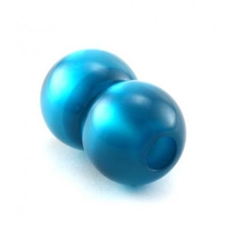 fermoir boule magnetique resine polaris turquoise pour cuir 6mm