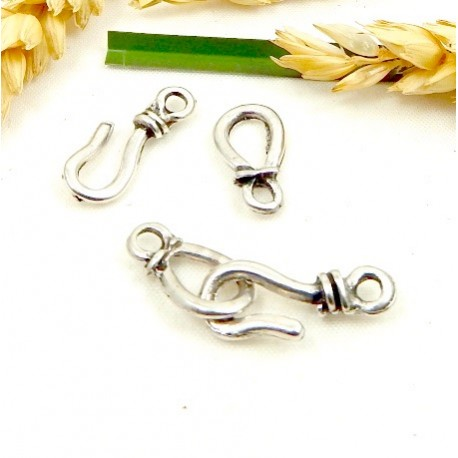 fermoir crochet metal argente haute qualite pour cuir ou chaine