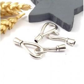 fermoir crochet plaque argent haute qualite pour cuir 4mm