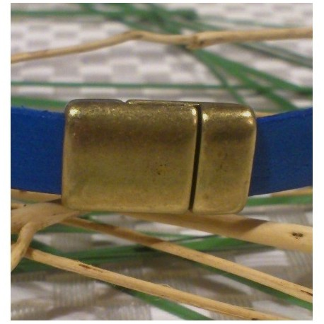 Fermoir magnetique plat zamak bronze pour cuir 10mm