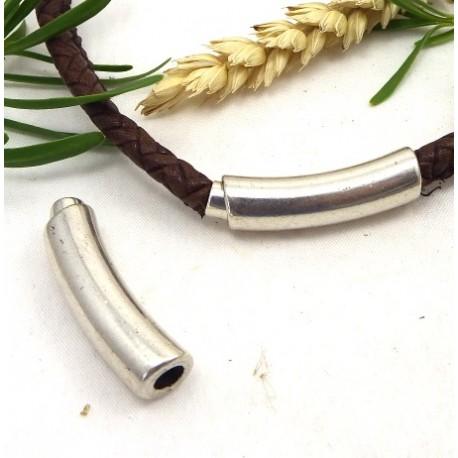 fermoir magnetique design plaque argent pour cuir rond 4mm