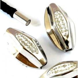 Fermoir magnetique ovale acier inoxydable veritable avec strass pour cuir rond 3mm