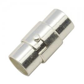 Fermoir metal argente magnetique pour cuir 4mm