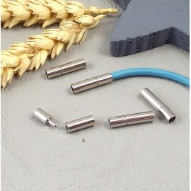 fermoir pression laiton argente pour cuir 3mm