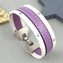 Kit tutoriel bracelet cuir blanc clous et lilas couture fermoir plaque argent