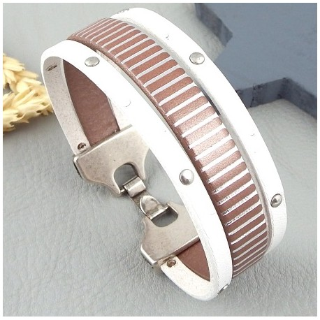 Kit tutoriel bracelet cuir blanc clous et raye argent fermoir plaque argent