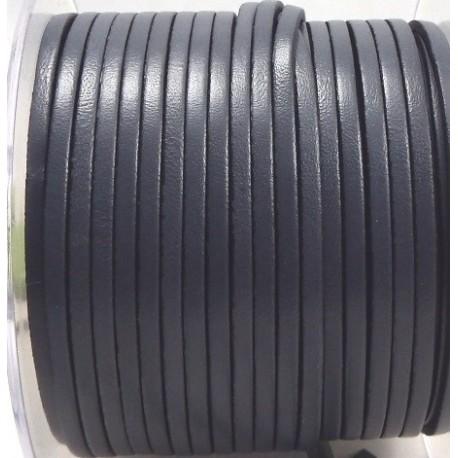 Cordon cuir plat 3mm gris par 20 cm