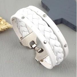 Kit tutoriel bracelet cuir blanc tresse et clous fermoir plaque argent