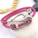 kit tuto bracelet cuir fuchsia 2 tours perles ethniques fuchsia et fermoir crochet original plaque argent