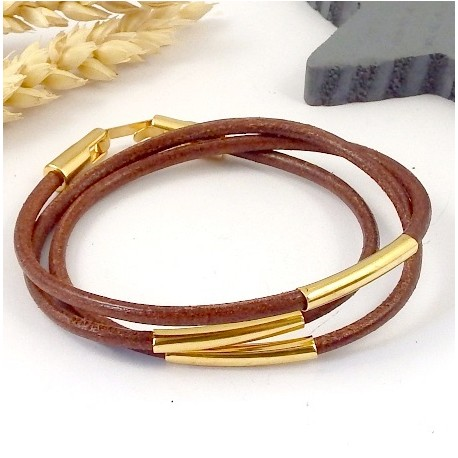 kit tuto bracelet cuir marron camel 3mm 3 tours tubes et fermoir flashe or