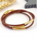 kit tuto bracelet cuir marron camel 3mm 3 tours tubes et fermoir flashe or