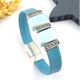 Kit tuto bracelet cuir turquoise ethnique perles ceramique artisanale