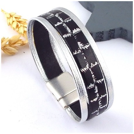Kit tutoriel bracelet cuir argent et noir electro plaque argent