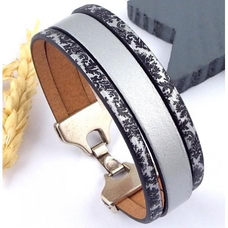 Kit tutoriel bracelet cuir argent et noir rococo fermoir plaque argent