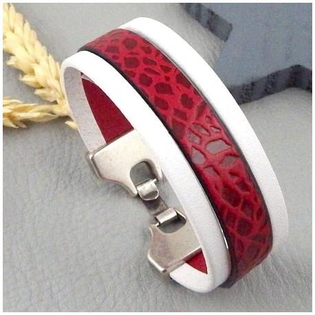 kit tutoriel bracelet cuir blanc et bordeaux sauvage fermoir argent