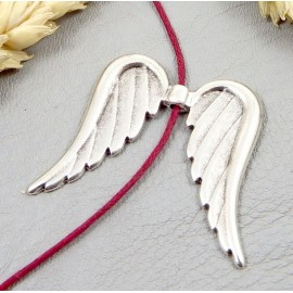 pendentif ailes ange plaque argent 32x34mm