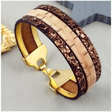 Kit tutoriel bracelet cuir vintage et fantasia marrron fermoir flashe or