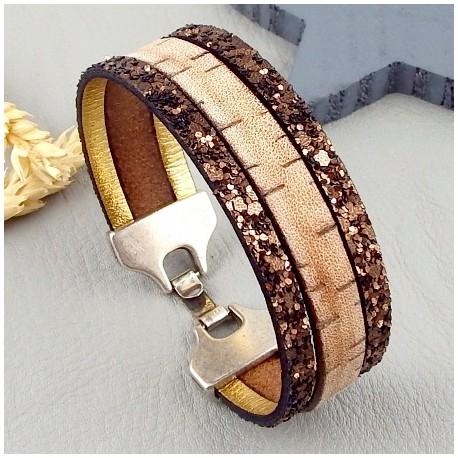 Kit tutoriel bracelet cuir vintage et fantasia marrron fermoir plaque argent