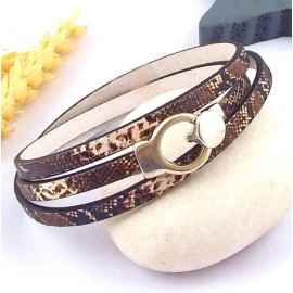 kit tutoriel bracelet cuir imprime boa marron fermoir plaque argent