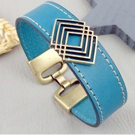 Kit tutoriel bracelet cuir couture turquoise passant geometrique bronze