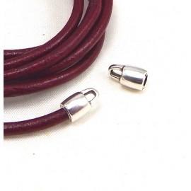 2 embouts metal plaque argent pour cuir interieur 3mm