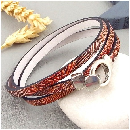 kit tutoriel bracelet cuir imprime corail de mer fermoir plaque argent