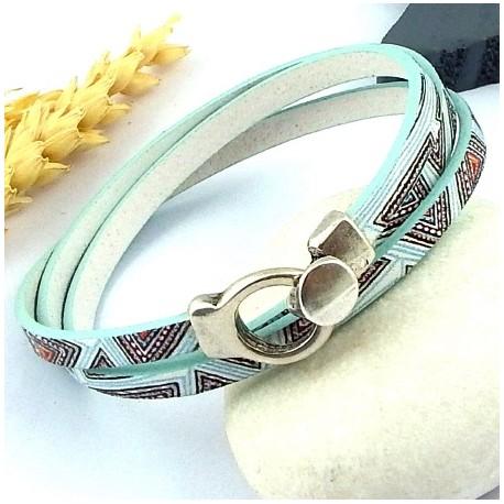 kit tutoriel bracelet cuir imprime art deco vert aqua fermoir plaque argent