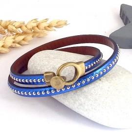 kit tutoriel bracelet cuir bleu miroir billes double fermoir bronze