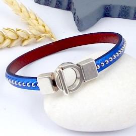 kit tutoriel bracelet cuir bleu metal special fete des meres