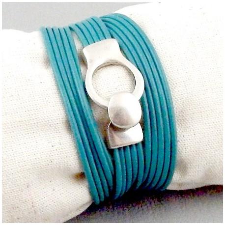 kit tutoriel bracelet cuir bleu petrole fermoir boucle plaque argent