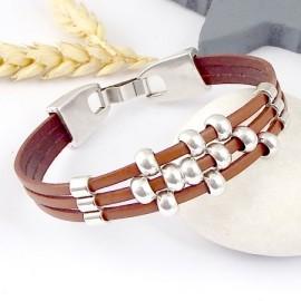kit tutoriel bracelet cuir camel et argent ultra simple
