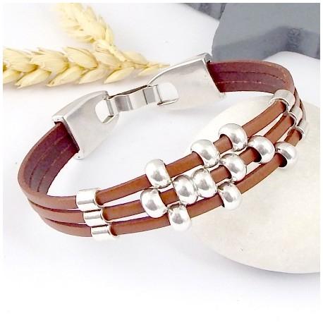 kit tutoriel bracelet cuir camel et argent fete des meres
