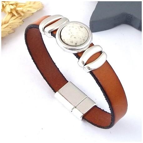 Kit tutoriel bracelet cuir cognac avec perles et fermoir argent cabochon ivoire