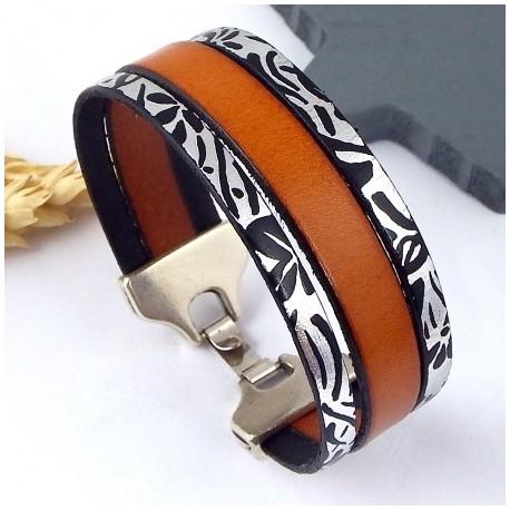 kit tutoriel bracelet cuir cognac et argent metal fermoir argent