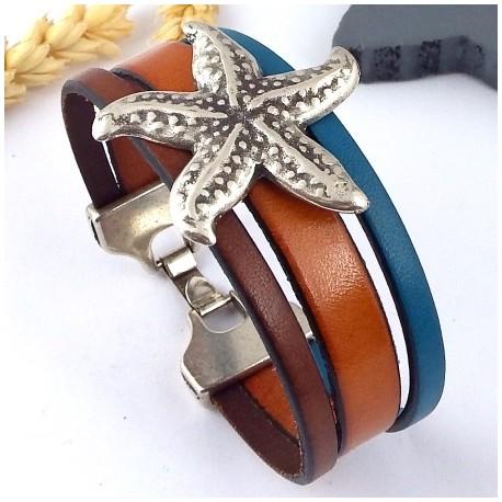 kit tutoriel bracelet cuir cognac et bleu etoile de mer argent