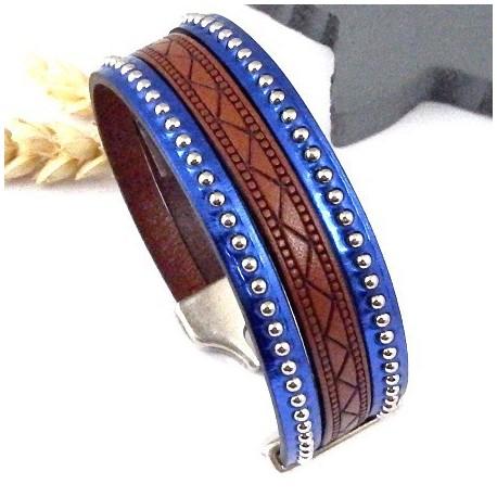 Kit tutoriel bracelet cuir ethnique grave camel et billes argent