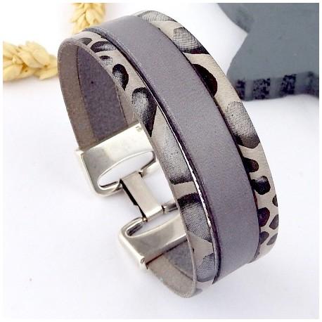 kit tutoriel bracelet cuir gris animal fermoir haute qualite plaque argent