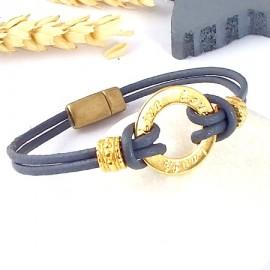 Kit tutoriel bracelet cuir gris voeux perles et fermoir zamak flashe or