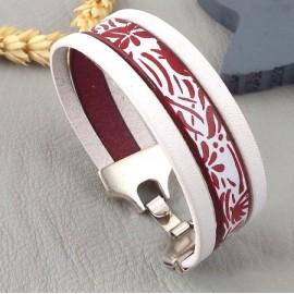 kit tutoriel bracelet cuir imprime fleurs yeye bordeaux et blanc