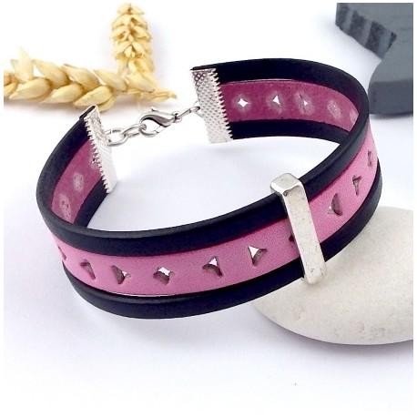 kit tutoriel bracelet cuir manchette promo rose et marine