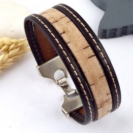 kit tutoriel bracelet cuir marron vintage elime coutures