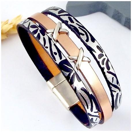 kit tutoriel bracelet cuir or rose et argent metal fermoir argent