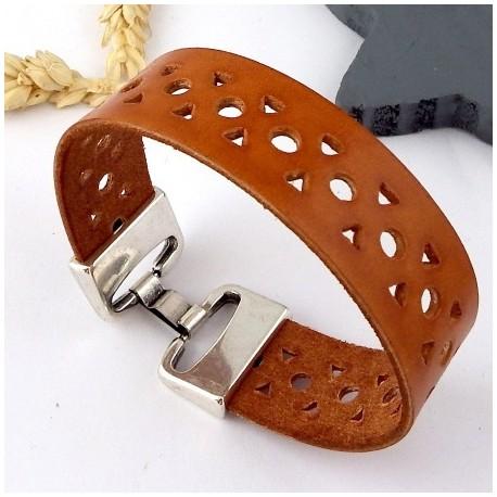 kit tutoriel bracelet cuir perfore camel fermoir haute qualite plaque argent