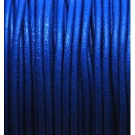 Cordon cuir rond 2mm bleu electrique par 50cm