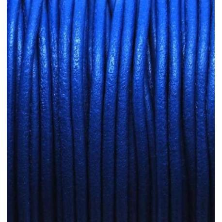 Cuir rond 2mm bleu vif par 50cm