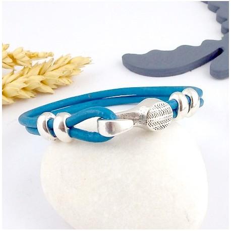 kit tutoriel bracelet cuir rond bleu outremer et fermoir crochet argent deux