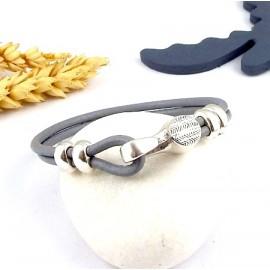 kit tutoriel bracelet cuir rond gris fermoir crochet argent deux