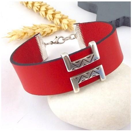 kit tutoriel bracelet cuir rouge manchette boho ethnique perle plaque argent