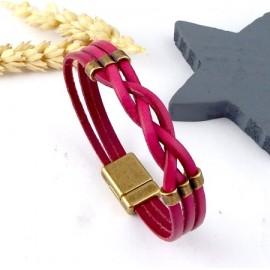 Kit tutoriel bracelet cuir tresse fuchsia avec perles et fermoir magnetique bronze